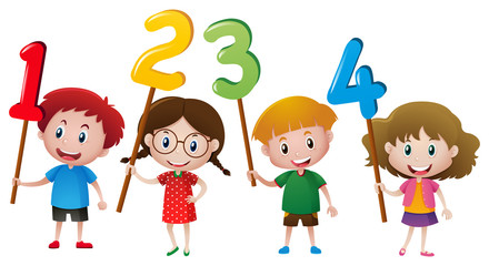 Kids holding numbers on the stick