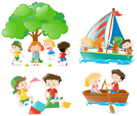Many children playing and doing different activities