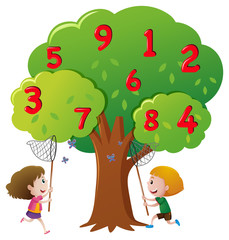 Kids catching numbers on the tree