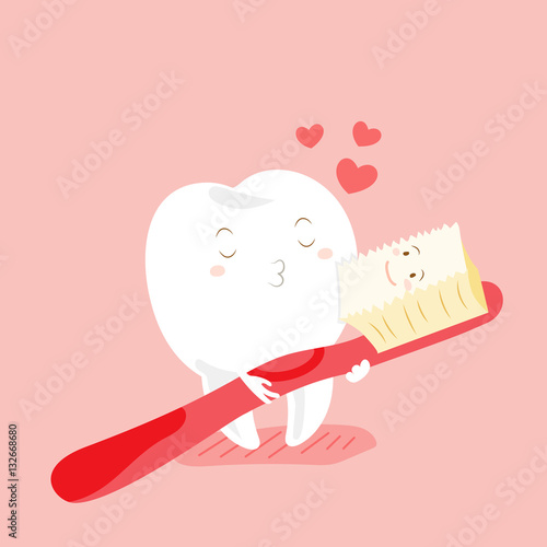Cute Cartoon Teeth And Toothbrush With Happy Valentine Day Stock