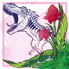 Detailed sketch style drawing of the roaring tirannosaurus rex on a decoratve bunch of tropical leaves and flowers. Painted sketch. EPS10 vector illustration.