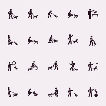 Stick figures. Man with dog