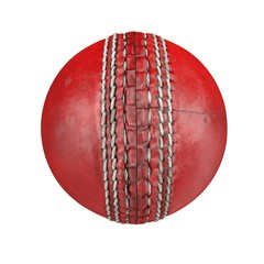 Red leather cricket ball isolated on white. 3D illustration