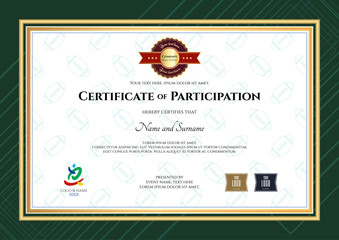 Certificate of participation template in sport theme with rugby background and modern border