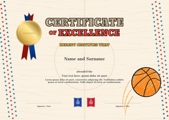 Certificate of excellence template in sport theme for basketball event with court background