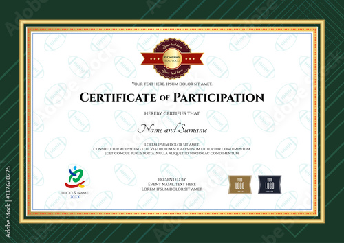 Certificate Of Participation Template In Sport Theme With Rugby Background  And Modern Border  Certificate Of Participation Free Template