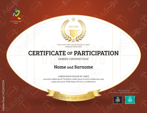 Certificate of participation template in sport theme with rugby certificate of participation template in sport theme with rugby shape and brown background yelopaper Images