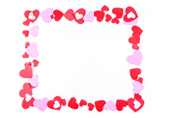 Pink and red heart frame isolated on a white background