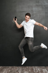 Full length image of man which jumping