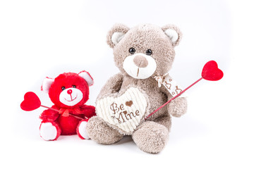 Two valentine bears holding hearts isolated on a white background