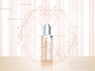 Skin serum toner template, glass bottle
