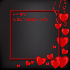Valentine's Day card Red volumetric heart on a black background with frame
