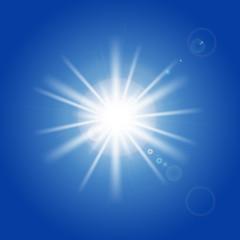 Sun rays and light effects on blue sky. Vector illustration