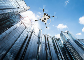 Wall Mural - flying drone in city