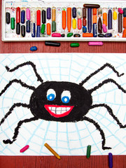 Colorful drawing: Black happy spider and spider's web