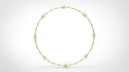 Seamless ring of barbed wire made from gold. This image is a 3d illustration.