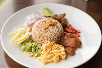 Fried Rice with Shrimp Paste, Thai food.