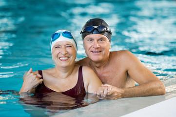 Senior couple in pool