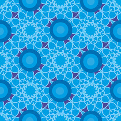 Pattern with blue flowers and colorful circles