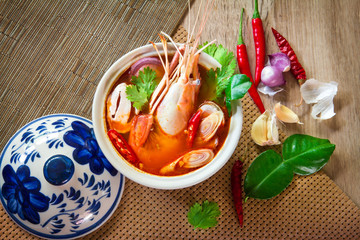 Close up Asian Spicy soup with shrimp in  bowl ,  Thai food