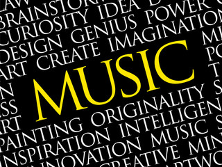 MUSIC word cloud collage, creative business concept background