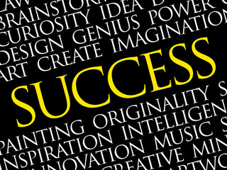 SUCCESS word cloud collage, creative business concept background
