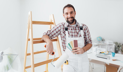 Professional painter posing