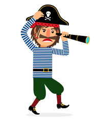 Pirate cartoon character walking with spyglass. Vector icon on white background