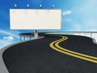 Blank billboard standing next to highway. 3D illustration
