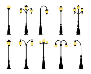 Vintage streetlights. Vector retro street lamp lights isolated on white background