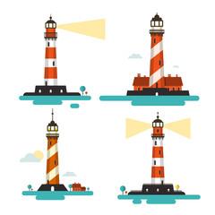 Flat Design Lighthouse. Vector Lighthouses Set Isolated on White Background.