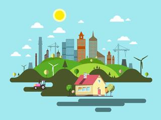 Garden Poster Light blue Flat Design City. Abstract Vector Town.