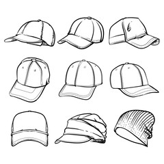 Vector set of cap, Vector illustration, Clip art