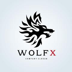Wolf logo template.