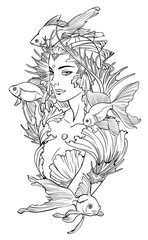 Illustration of mermaid princess with goldfishes and seashell elements. Black and white, anti-stress. Adult coloring books.