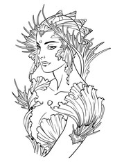 Illustration of mermaid princess decorated with seashell elements. Black and white, anti-stress. Adult coloring books.