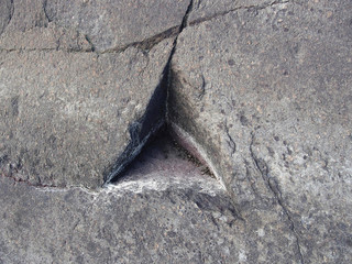Triangle in stone, natural anomaly, geometric figure