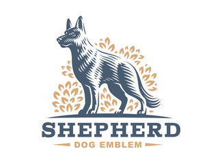 Shepherd dog logo - vector illustration