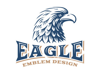 Eagle head logo - vector illustration on white background