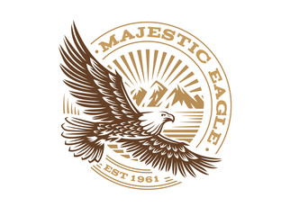 Eagle logo - vector illustration, emblem on white background