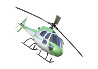 3D Rendering Helicopter on White