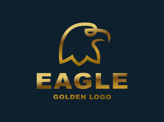 Eagle head logo - golden vector illustration on dark background