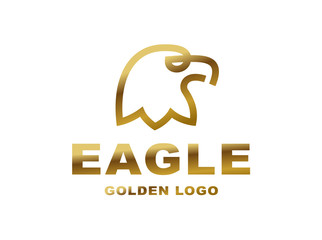 Eagle head logo - golden vector illustration on white background