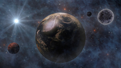 Planet Earth, The Sun, The Moon and Planets In Space 3D Renderin