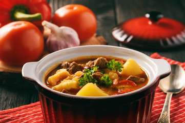 Hungarian soup goulash (bograch) with dumplings.