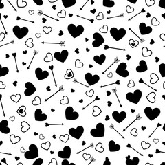 Wall Mural - Valentine heart love seamless pattern with arrows