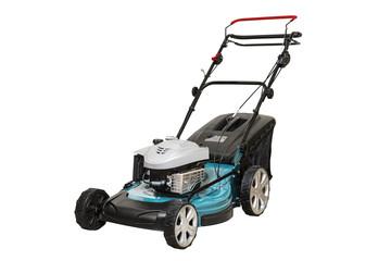 Isolated Blue Petrol Lawn Mower. Wheel Drive 4-stroke Petrol Blue Lawn Mower