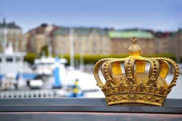 Skeppsholmsbron (Skeppsholm Bridge) with Golden Crown on a bridg