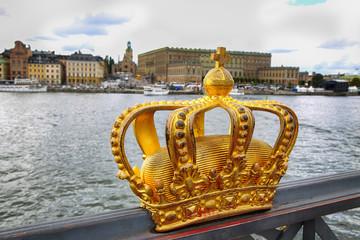 Poster Stockholm Skeppsholmsbron (Skeppsholm Bridge) with Golden Crown on a bridg