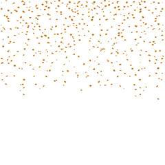 Gold confetti celebration isolated on transparent background. Falling golden abstract decoration for party, birthday celebrate, anniversary or Christmas, New Year. Festival decor Vector illustration